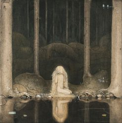 Princess Tuvstarr gazing down into the dark waters of the forest tarn | John Bauer | Oil Painting