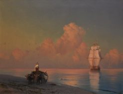 An Ox-Drawn Cart on the Shore and a Swimmer in the Shallows | Ivan Constantinovich Aivazovsky | Oil Painting
