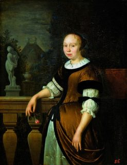 Portrait of a young lady with a rose | Pieter Cornelisz van Slingeland | Oil Painting