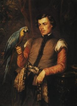 Nobleman with a Parrot | Jozef Simmler | Oil Painting