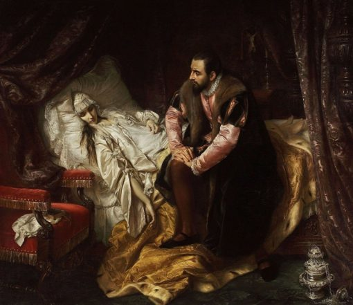 Death of Barbara Radziwill   Jozef Simmler   Oil Painting