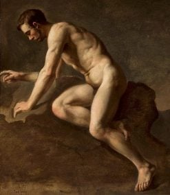 Study of a male nude | Jozef Simmler | Oil Painting