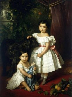 Portrait of Kronenberg sisters (Maria Ró?a and Ró?a Maria Karolina) with a dog | Jozef Simmler | Oil Painting