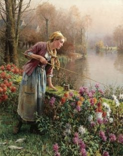 Brittany girl fishing | Daniel Ridgway Knight | Oil Painting