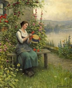 Trimming her Sunday hat | Daniel Ridgway Knight | Oil Painting
