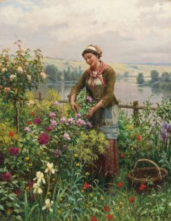 In the Garden | Daniel Ridgway Knight | Oil Painting