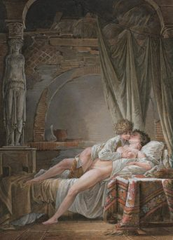 A Young Couple in a Passionate Embrace | Jean-Baptiste Mallet | Oil Painting