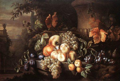 Fruit-piece with Stone Vase | Jakob Bogdány | Oil Painting