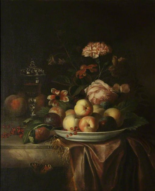 A Dish of Peaches and Plums on a Marble Table with Flowers and a Glass Chalice | Jakob Bogdány | Oil Painting
