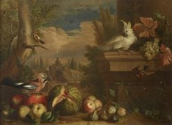 Birds and Fruit in a Landscape with a Fountain in the Background | Jakob Bogdány | Oil Painting