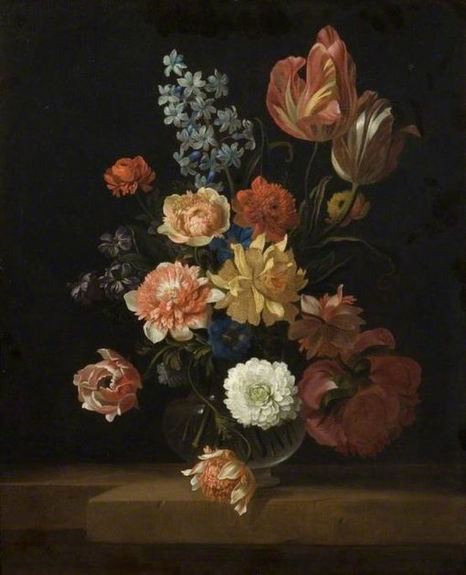 Flowers in a Glass Bowl | Jakob Bogdány | Oil Painting