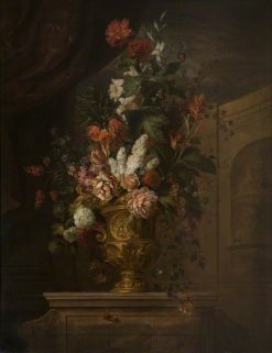 Flowers in a Sculpted Vase | Jakob Bogdány | Oil Painting
