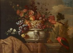 Fruit in a Pewter Bowl with a Parrot | Jakob Bogdány | Oil Painting