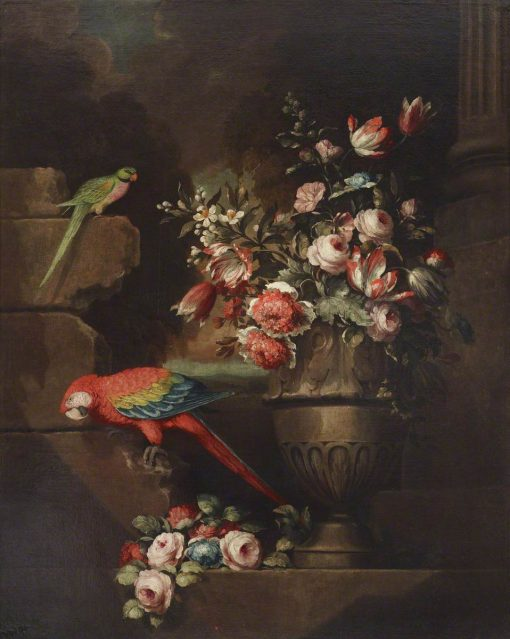 Still Life with Flowers in an Urn and Two Parrots | Jakob Bogdány | Oil Painting