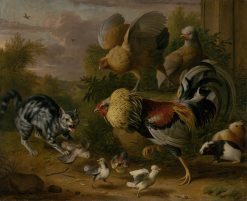 Cat among Roosters | Jakob Bogdány | Oil Painting