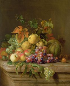 A Still Life Of Melons Grapes And Peaches On A Ledge | Jakob Bogdány | Oil Painting