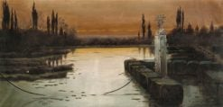Evening Mood in the Pontine Marshes | Enrique Serra y Auque | Oil Painting