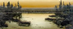 Pontine Marshes in the Twilight | Enrique Serra y Auque | Oil Painting