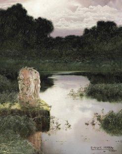 A classical ruin in a lake landscape | Enrique Serra y Auque | Oil Painting