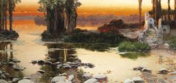 Sunset over a lake | Enrique Serra y Auque | Oil Painting