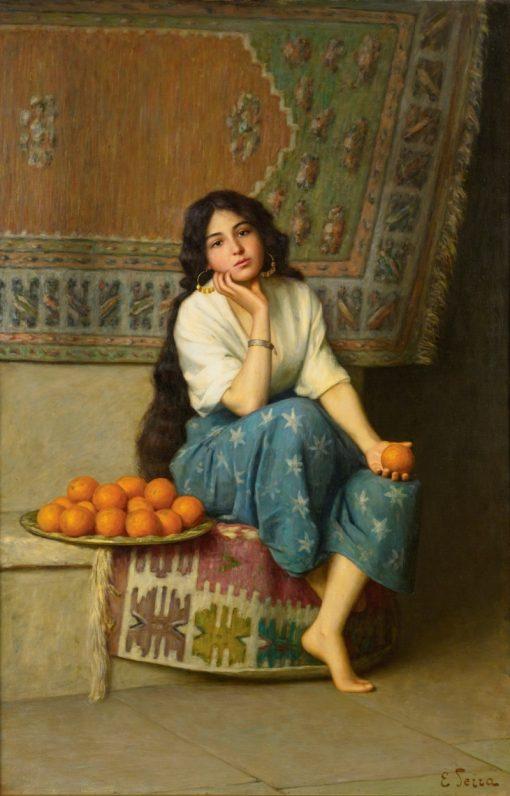 The Orange Seller   Enrique Serra y Auque   Oil Painting