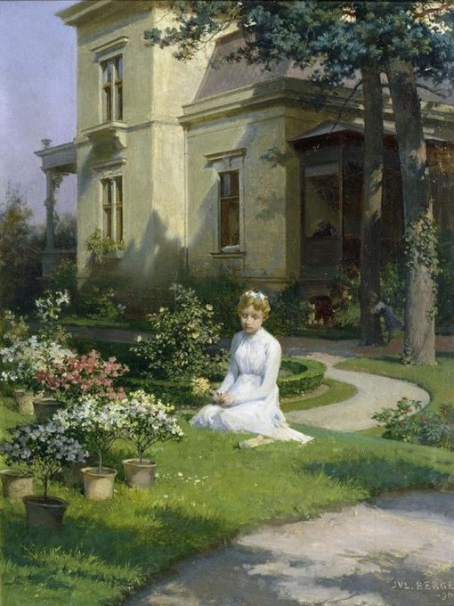 Girl in the Garden | Julius Victor Berger | Oil Painting