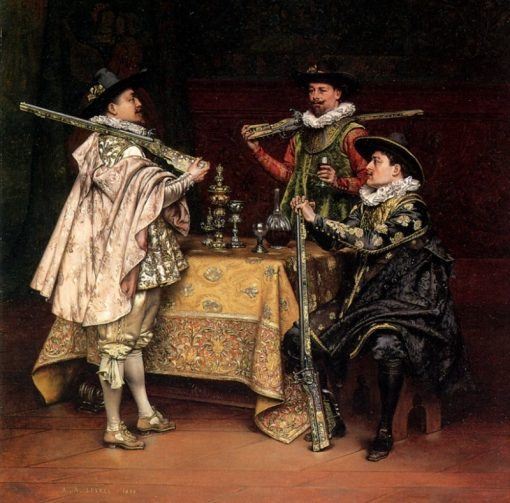 Discussing the Days Shoot | Adolphe Alexander Lesrel | Oil Painting