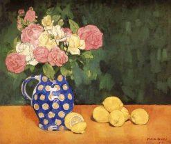 Roses and Lemons   Max Buri   Oil Painting