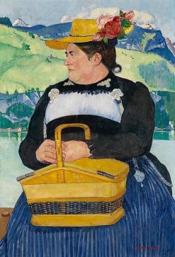 Peasant Woman with a Basket   Max Buri   Oil Painting