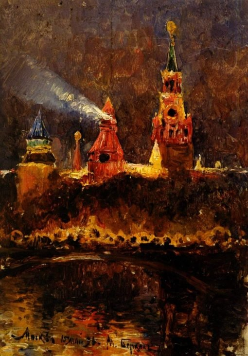 The Moscow Kremlin at Night | Mikhail Berkos | Oil Painting