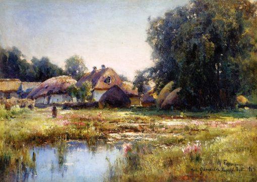 Malaya Danilovka Village   Mikhail Berkos   Oil Painting