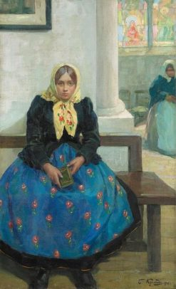 Girl in a Church | Boris Mikhailovich Kustodiev | Oil Painting