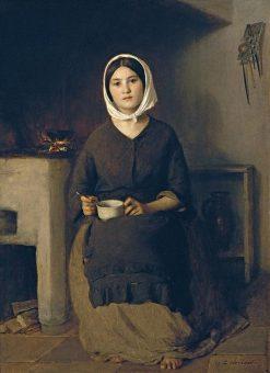 Sitzende Frau in einer Bauernkuche   Johann Baptist Reiter   Oil Painting
