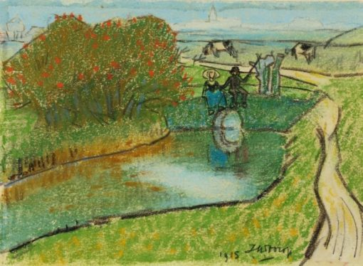Landscape with Fisher | Jan Toorop | Oil Painting