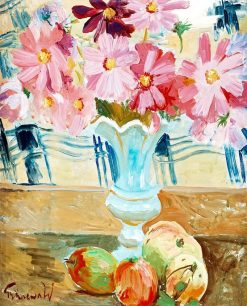Still life with garden cosmos   Isaac Grunewald   Oil Painting