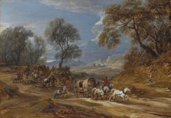 A convoy attacked by brigands | Adam Frans van der Meulen | Oil Painting