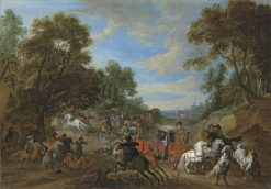 A wooded landscape with a coach being ambushed in a clearing | Adam Frans van der Meulen | Oil Painting