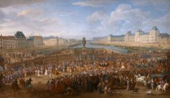 March of the King accompanied by his guards passing over the Pont-Neuf and going to the Palais | Adam Frans van der Meulen | Oil Painting