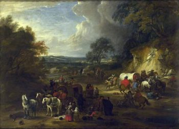 Landscape with Bandits attacking a Convoy of Travellers | Adam Frans van der Meulen | Oil Painting