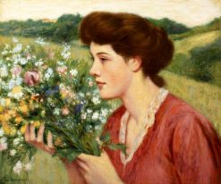 Girl with a Bouquet of Flowers | Federico Zandomeneghi | Oil Painting