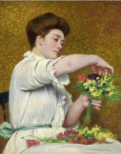 Woman Arranging Flowers | Federico Zandomeneghi | Oil Painting