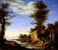 Landscape with Cows and River | Ary de Vois | Oil Painting