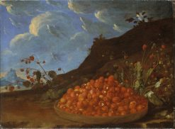 Basket of Wild Strawberries in a Landscape | Luis Melendez | Oil Painting