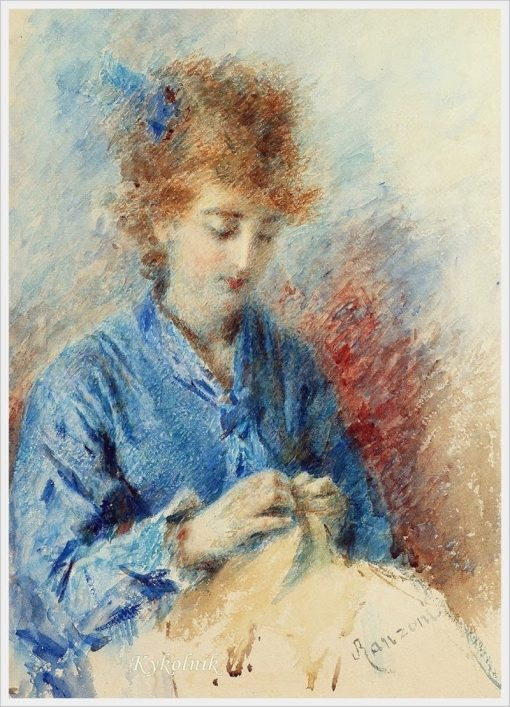 A young lady sewing | Daniele Ranzoni | Oil Painting