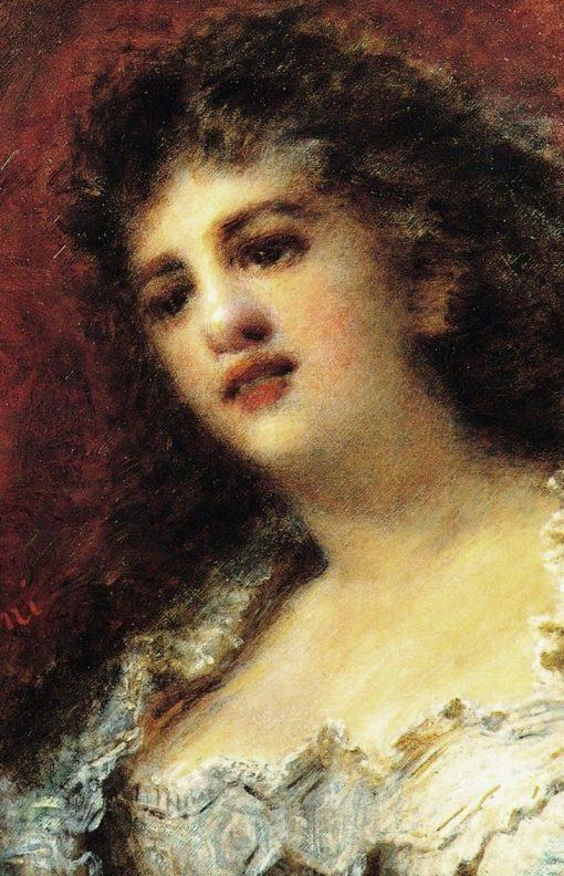 Portrait of the singer Ravene   Daniele Ranzoni   Oil Painting