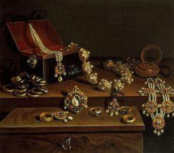 Casket of Jewels on a Table   Pieter Gerritz. van Roestraten   Oil Painting