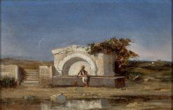 Landscape with a Fountain   Charles-Emile Vacher de Tournemine   Oil Painting