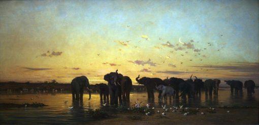 African Elephants | Charles-Emile Vacher de Tournemine | Oil Painting