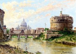 A view of the Tiber with Castel Sant Angelo and St. Peters | Antonietta Brandeis | Oil Painting