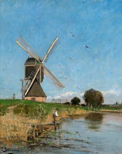 Landscape with a Windmill | Carl Skanberg | Oil Painting